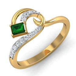 Green Stone 14k Hallmark Gold Diamonds Ring