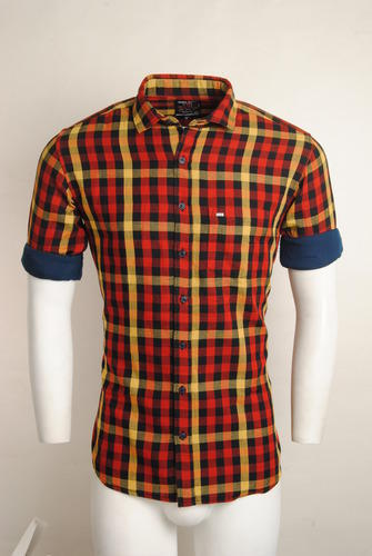 7a6af11bd87 Red And Yellow Checked Men Casual Shirt