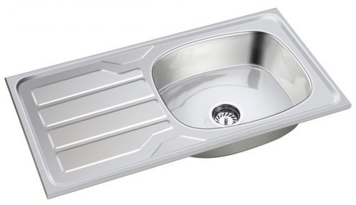Stainless Steel Glossy Kavar Sink - Single Bowl with Drain board 37x18x7