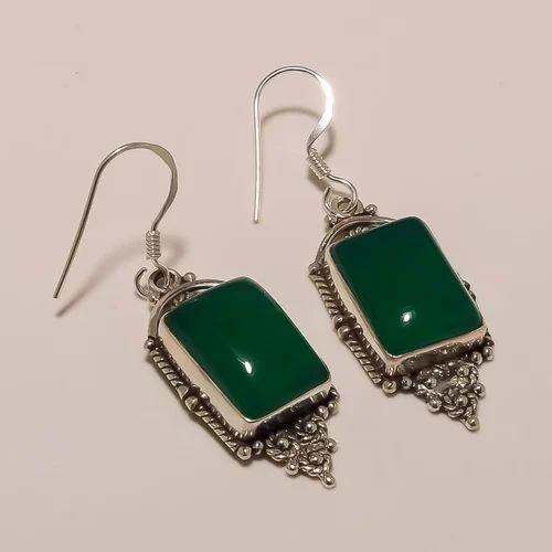 Sterling Silver Green Onyx Earring 6gm
