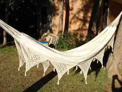 Fabric Hammock with Crochet Border