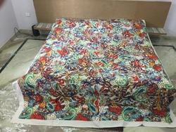 Multi Printed Applique Bed Cover Designer Cutwork Bedsheet