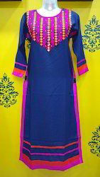 Blue Rayon Mirror Embroidered Kurti
