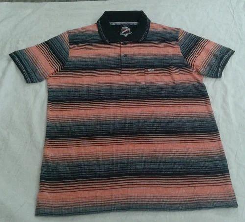 1eff719bd4 Black/orange Cotton Trendy Collar T-Shirt Striped, Rs 295 /piece ...