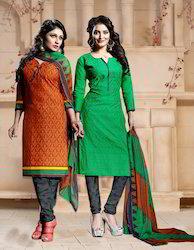 Orange, Green 2 In 1 Designer Suit