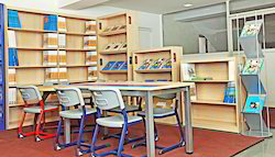 School Library Table And Chair With Shelves