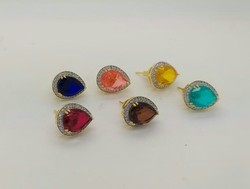 Color Stone With C Z Stud Earring