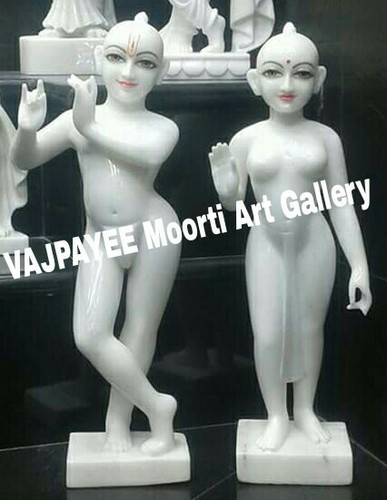 Marble Painted White Iskcon Radha Krishna Statue For Worship