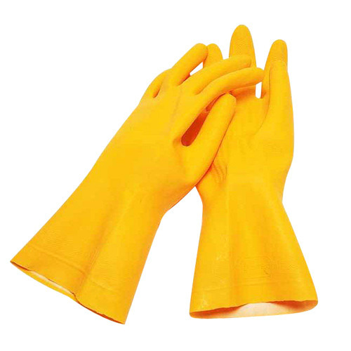 Yellow Rubber Full Finger Gloves, For Industrial Use
