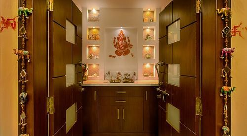 Pooja room designing home interior design interior design works interior work interiors for Design of mandir in living room