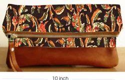 Foldable Kalamkari Clutch Purse Hand Block Printed, Dimension / Size: 11 Inch
