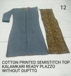 Semi Stitch Cotton Top with Kalamkari Palazzo