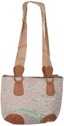 Handmade Painting Style Canvas Leather Touch Handbag