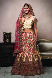 Bridal Wear Embroidery Red and Cream Lehenga