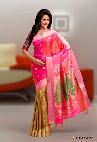 Kanchepuram Silk Sarees Pink Pure Silk Handloom Saree, With Blouse Piece