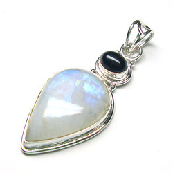 Moonstone And Black Onyx Silver Pendant