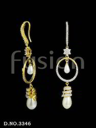 Designer American Diamond Pearl Earrings