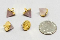 Rose Quartz Gold Cone Shape Gemstone Pendant