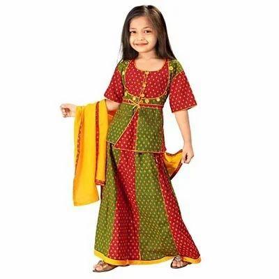 630c531f31 Red And Green Cotton Rajasthani Booti Work Lehenga Kurti 103B, Rs ...