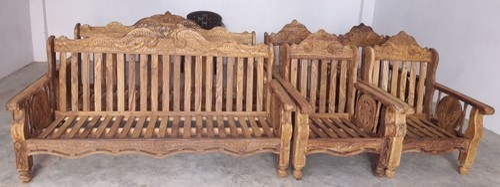 Natural Plane Wooden Sofa Set
