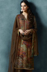 Brown and Red Cotton Twill Unstitched Salwar Suit