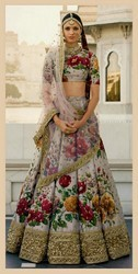Designer Floral Printed Fine Art Silk Wedding Lehenga