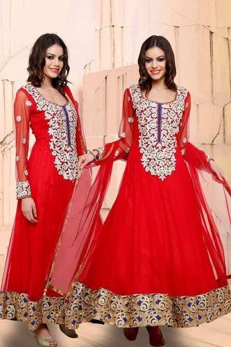 b8880c363d Silk Heavy Stone Work Red Party Wear Anarkali Suit, Rs 4990 /piece ...