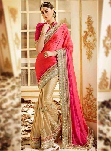 53d007b6757 Bridal Saree - Epitome Satin Patch Border Work Designer Saree ...
