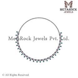 Indian Handcrafted Pave Diamond Mix Stone Necklace