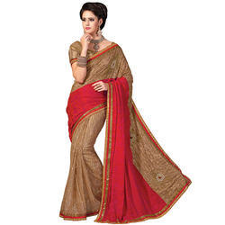 Net Bridal Mirror Work Border Saree