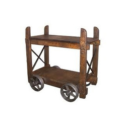 Wooden Bar Cart Trolley With Wheels