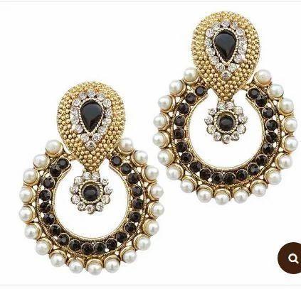 Black Stone Pearl Polki Earring