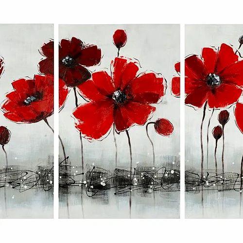 Three Piece Set Floral Painting