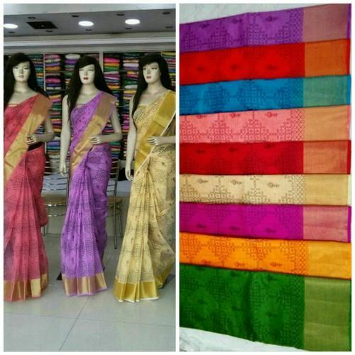 Printed Party Wear Cotton Saree, 6.3 m (with blouse piece)