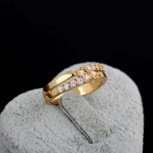 Luxury Women 18k Gold Filled Crystal Wedding Ring
