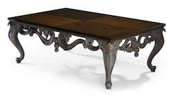Walnut Color Carving Wooden Center Table