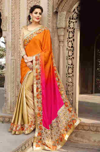 81c36df87c62a Triveni Golden Colored Border Worked Satin Saree at Rs 2206  piece(s ...