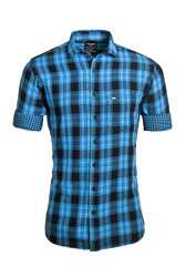 Double Fabric Blue Checked Shirt