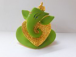 Car Dashboard Green Painted Ganesha