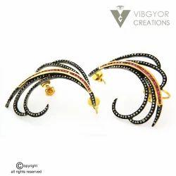 Party Wear Pave Diamond Cuff Earrings