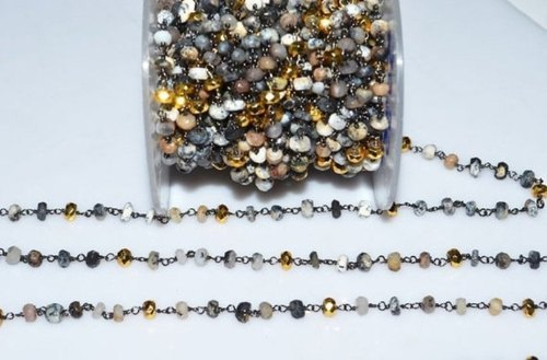 Dendrite Opal With Gold Pyrite Rosary Beaded Chain
