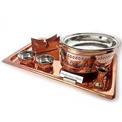 Copper Snacks Service Set With Oblong Snack Warmer