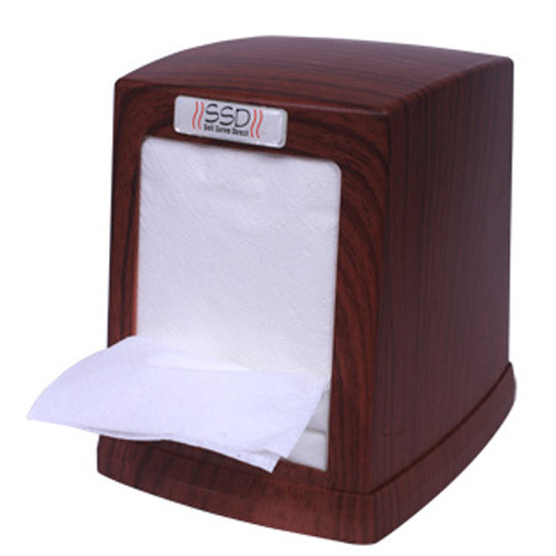 Ssd Brown Tabletop Tissue Cube Wooden Dispenser