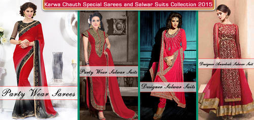 00ae0fe5a6 Karwa Chauth Festival Season Red Color Saree, Salwar Suits ...