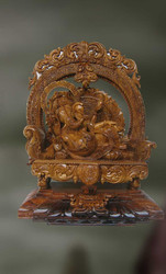 Wood Sculpture Of Lord Ganesha ( Vakratunda)