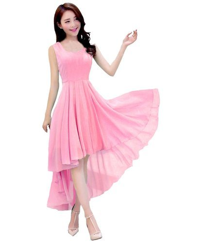 Georgette Dresses Baby Pink Western Ladies Dress 8a15e7695