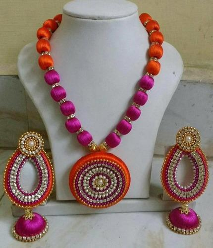 waangoo necklace long picture set of bangles with thread silk jhumkas