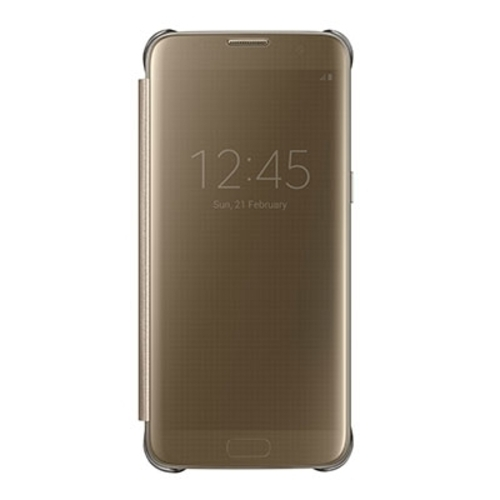 new style e4456 ceb79 Samsung S7 Edge Clear View Cover Gold