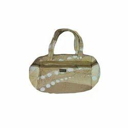 Ladies Green And White Rexine Designer Handbag