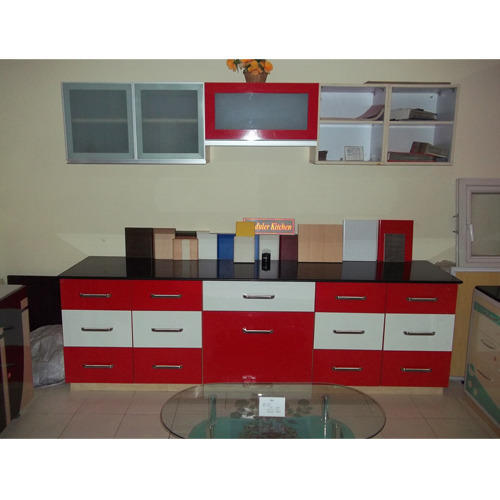 Price Kitchen Cabinets: Modern Red And White Kitchen Cabinet, Rs 450 /square Feet